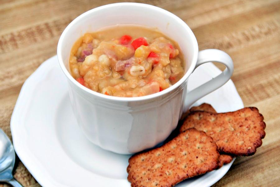 Yellow split pea and barley soup