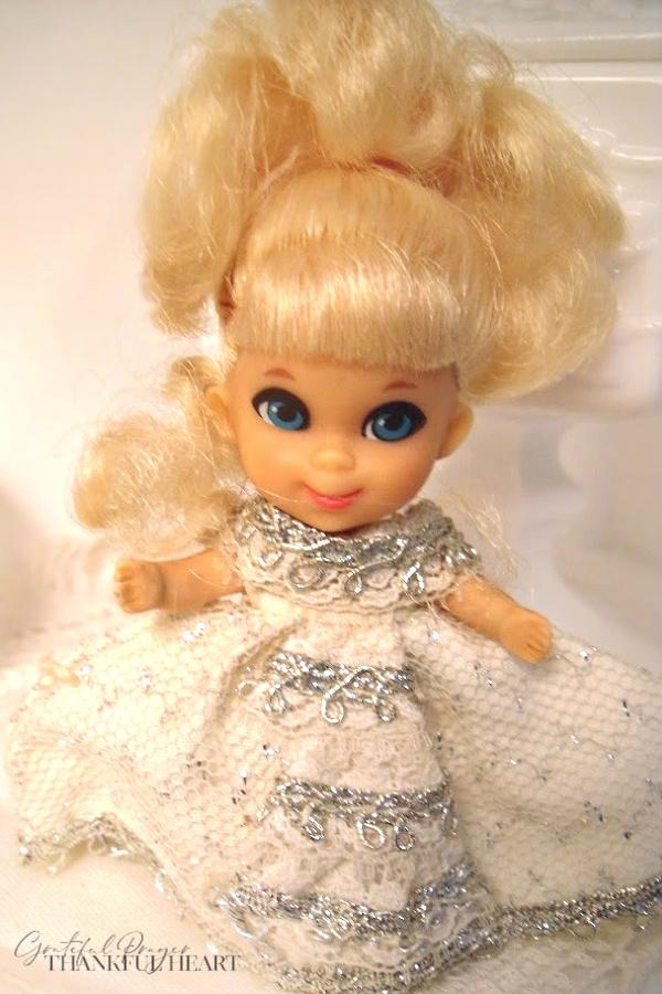 Tiny and adorable, vintage 1960's Little Kiddles dolls from Mattel including Little Cinderiddle.