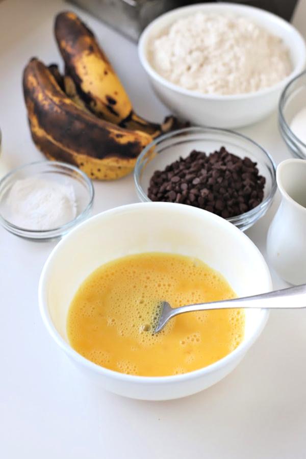 Easy recipe for chocolate chunk banana quick bread.