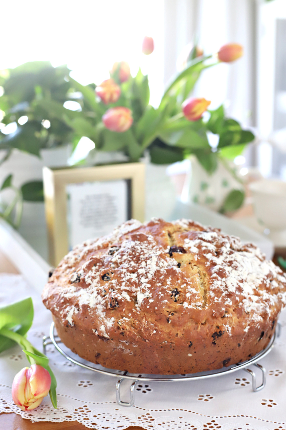 Large loaf of Irish soda bread for St. Patrick's Day