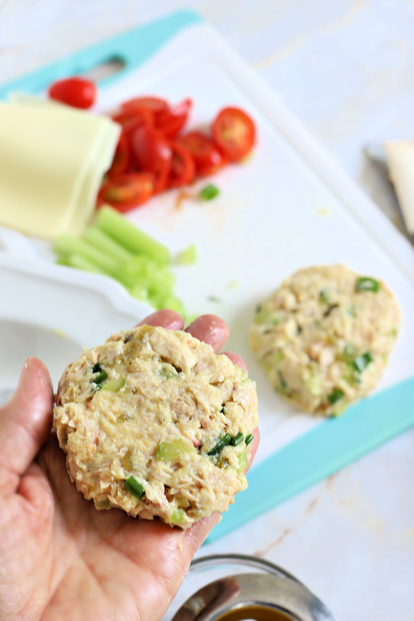 forming the patties for a classic tuna melt sandwich on a bun or English muffin