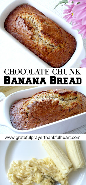 Chocolate Chunk Banana Bread is a great way to use overripe bananas. Moist, sweet and delicious with chunks of chocolate in this classic quick bread!