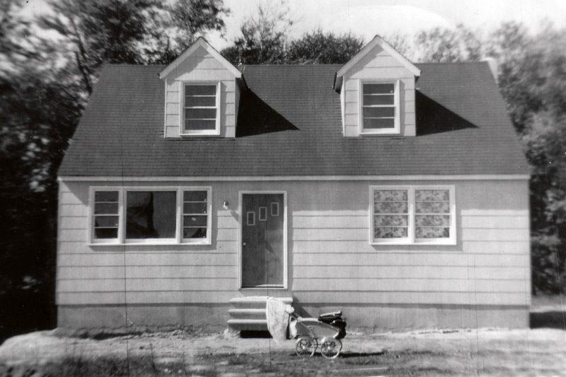 Vintage sedum plant planted in new 1950's suburb home