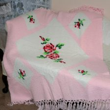 Pretty Pink Afghan with Roses in Tunisian/Afghan Stitch