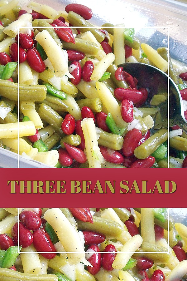 An old-fashioned favorite, three bean salad is such a great side to so many meals. An easy recipe that compliments burgers, hot dogs, barbecued chicken and pork. Green, waxed and kidney beans are marinated in a sweetened vinaigrette for great flavor.
