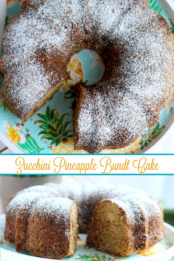 Easy, moist and delicious Zucchini Cake with pineapple and nuts is passed down from a vintage recipe. Made in a bundt pan and topped with glaze or 10X sugar