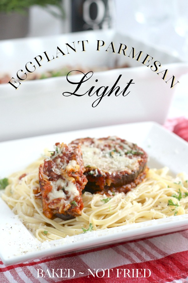In this lighter version of the classic, instead of being fried in oil, eggplant slices are dipped in egg whites and coated with a breadcrumb and cheese mixture, then baked until they are golden and tender. Eggplant Parmesan Light does away with some of the calories but this version is still rich and full of flavor.