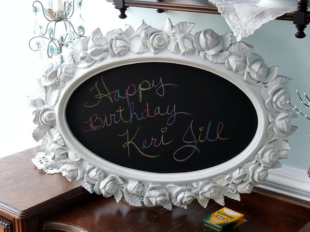 Recycled and re-purposed garage sale framed mirror becomes a chalkboard birthday gift for a little girl turning six years old. Easy DIY project.