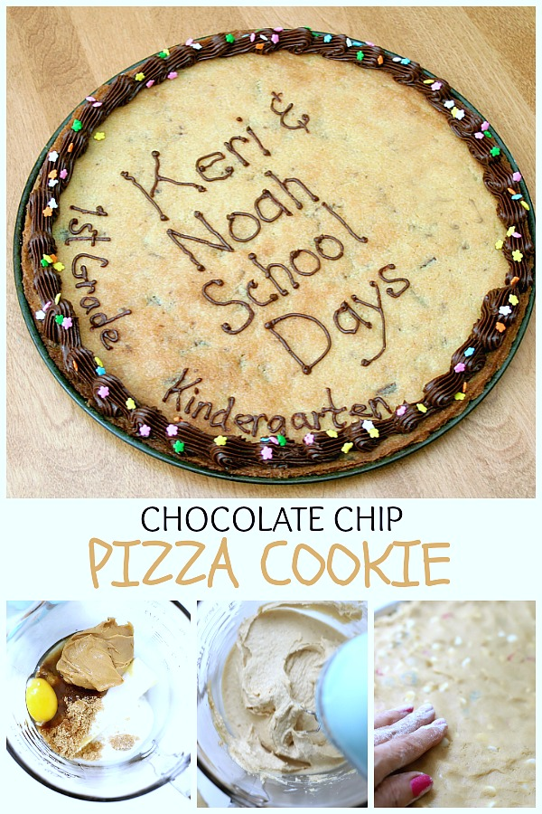 Easy recipe for a super fun, giant cookie that kids love! A chocolate chip pizza cookie is an easy back-to-school or birthday dessert and less work than making individual cookies.