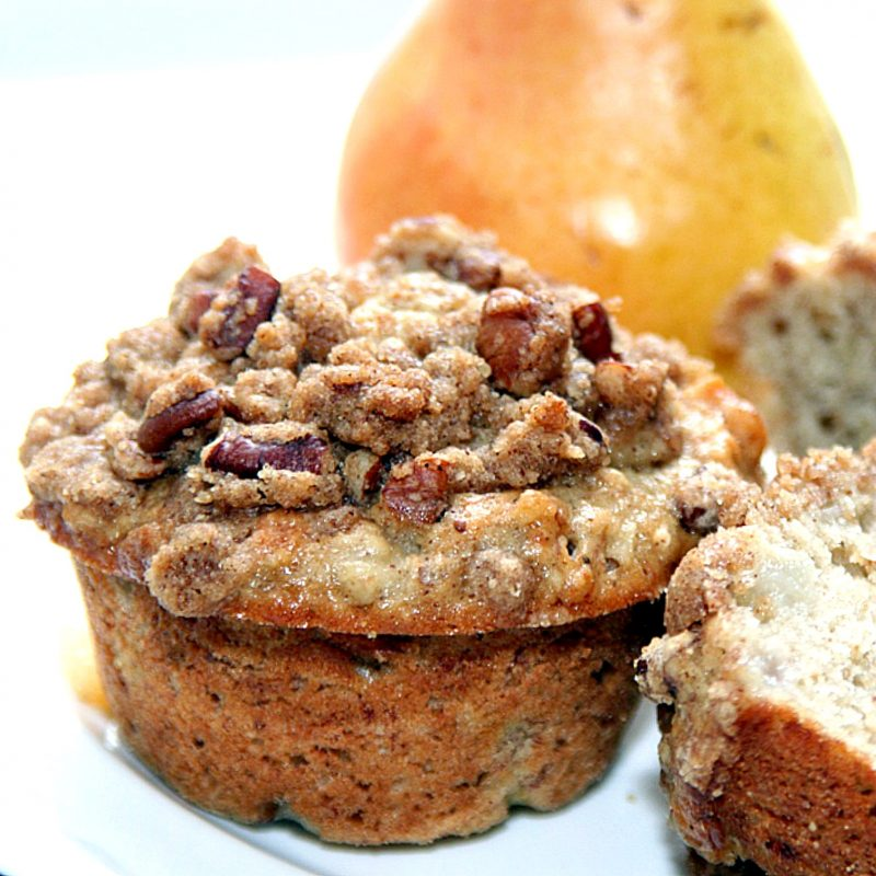 Quick and easy spiced pear and walnut muffins are great for breakfast, lunch or snacking. Lovely autumn flavors and they freeze well.