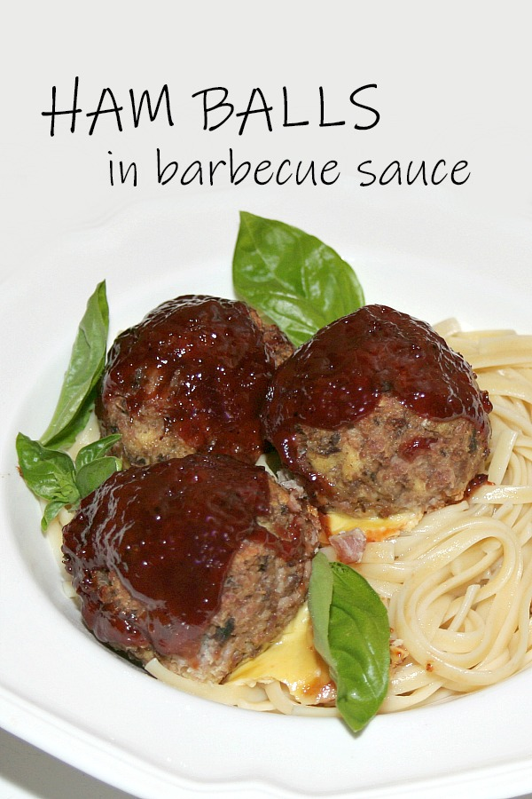 Ham balls in barbecue sauce is a great way to use leftover ham. Delicious combination of ham and BBQ sauce served over linguini or buttered noodles.