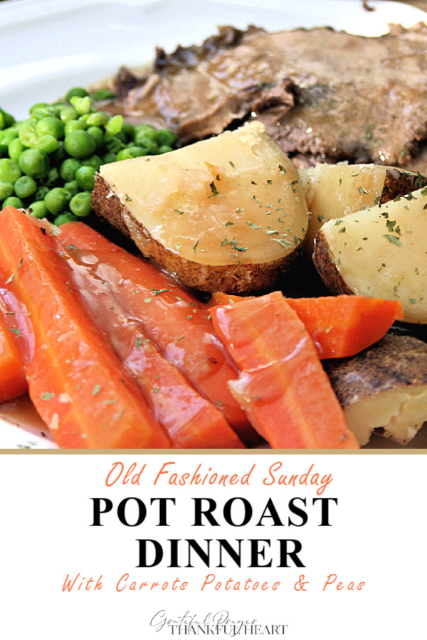 Grandmom's Sunday dinner with easy, step-by-step recipe for old fashioned beef rump roast. Simmered slowly on the stovetop with carrots and potatoes until tender.