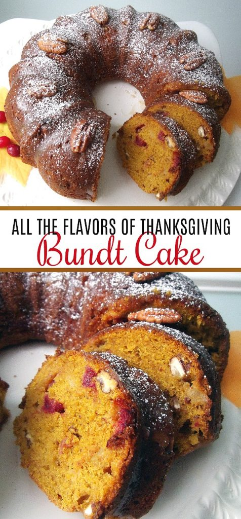 All-in-one Thanksgiving Bundt cake includes all your favorite flavors of the holiday all wrapped up in each delicious bite. Perfect for your dessert table.