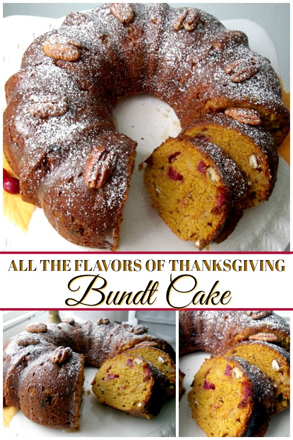 All-in-one Thanksgiving Bundt cake includes all your favorite flavors of Thanksgiving wrapped up in each delicious bite. Perfect for your dessert table.