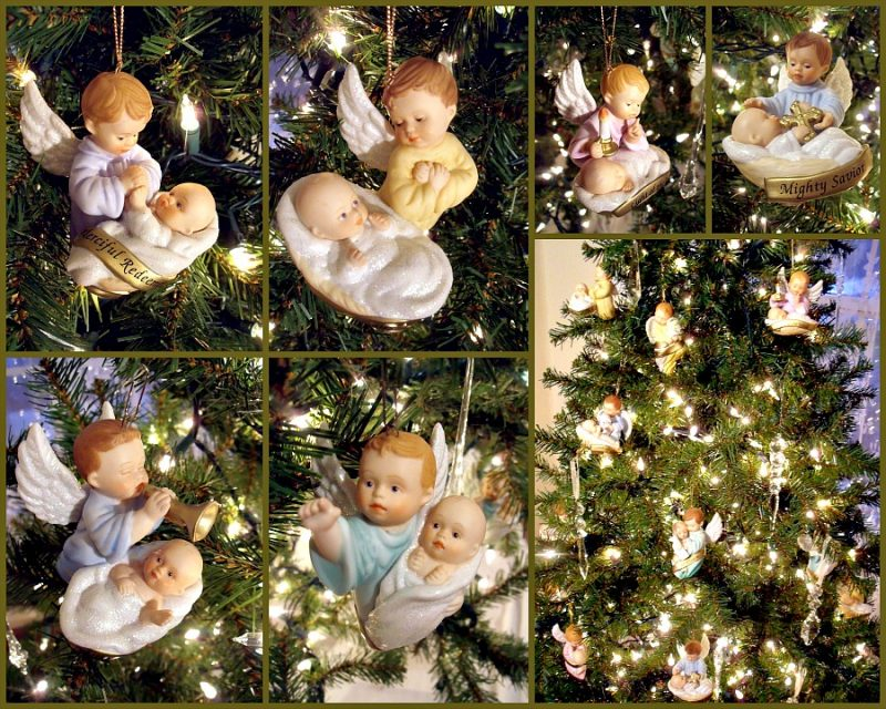 Sweet collection of, And His Name Shall Be Called, Ashton Drake angel and Baby Jesus porcelain ornaments each with a name of Jesus.