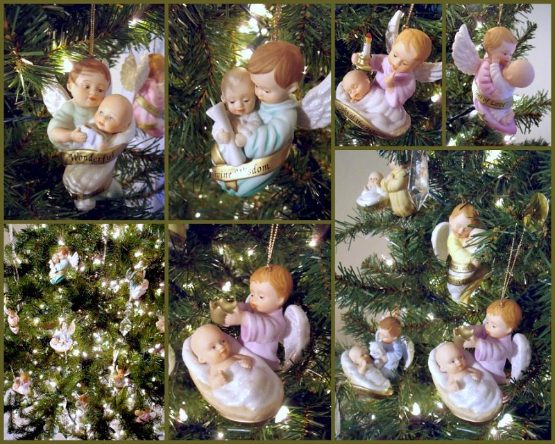 Sweet collection of And He Shall Be Called, Ashton Drake angel and Baby Jesus porcelain ornaments each with a name of Jesus.