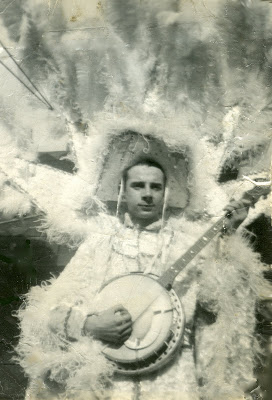 Vintage photos of Daddy with his banjo and feathery plumes doing the Mummers strut in the Philadelphia New Year's Day Mummers parade.