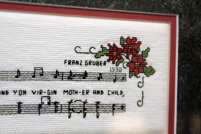 Counted Cross stitch from a vintage pattern book titled, Christmas in Miniature by Gloria Steele and Pat Carson.