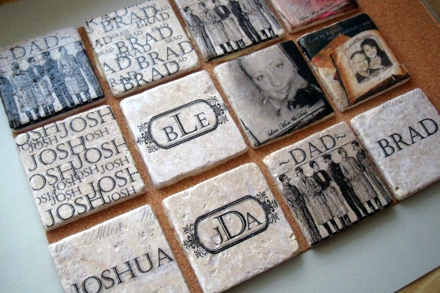 Finding great gifts for guys can be really hard. He will love unique and useful personalized tile coasters. Directions for transferring photos and words.