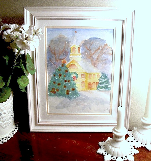 church in the snow watercolor painting by Jill and Mom