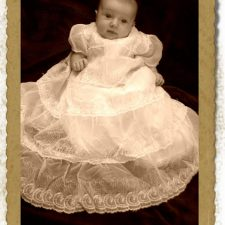 Cambrie In Mom-Mom's vintage Christening Dress