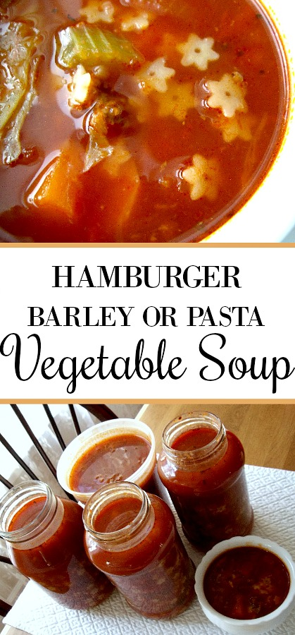 An easy recipe, Hamburger Barley Vegetable Soup is made with ground beef, carrots, onion, celery and peppers. Make with barley or substitute with small pasta. It makes lots so share with a friend or freeze for another meal.