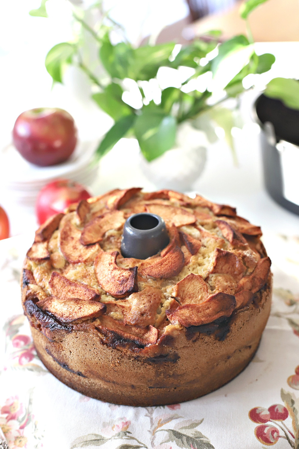 A moist and delicious cake from a vintage recipe is a favorite. Jewish apple cake has a center of cinnamon apples and more apples on top.