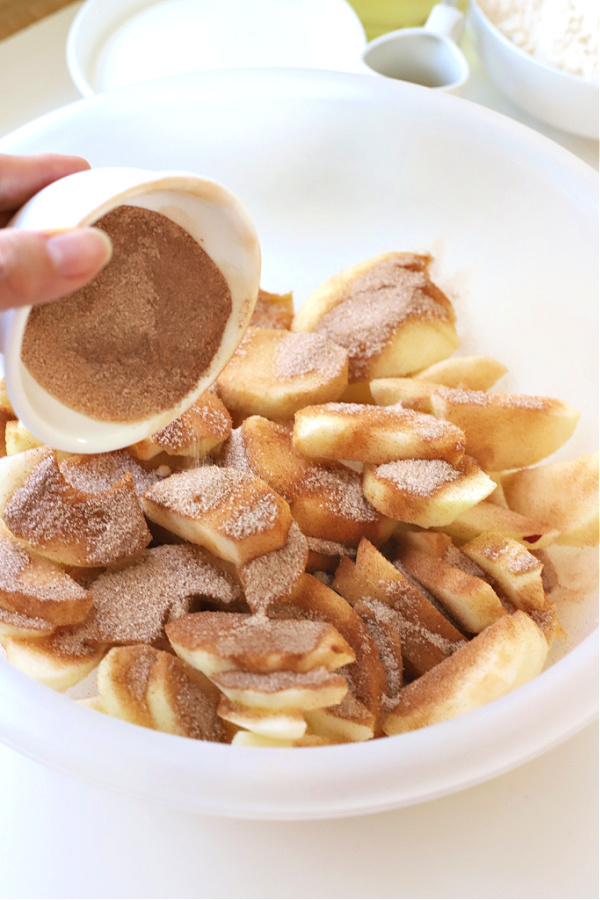 Cinnamon and sugar ready to sprinkle over sliced apples