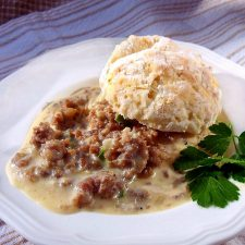 Country Sausage Gravy on Biscuits