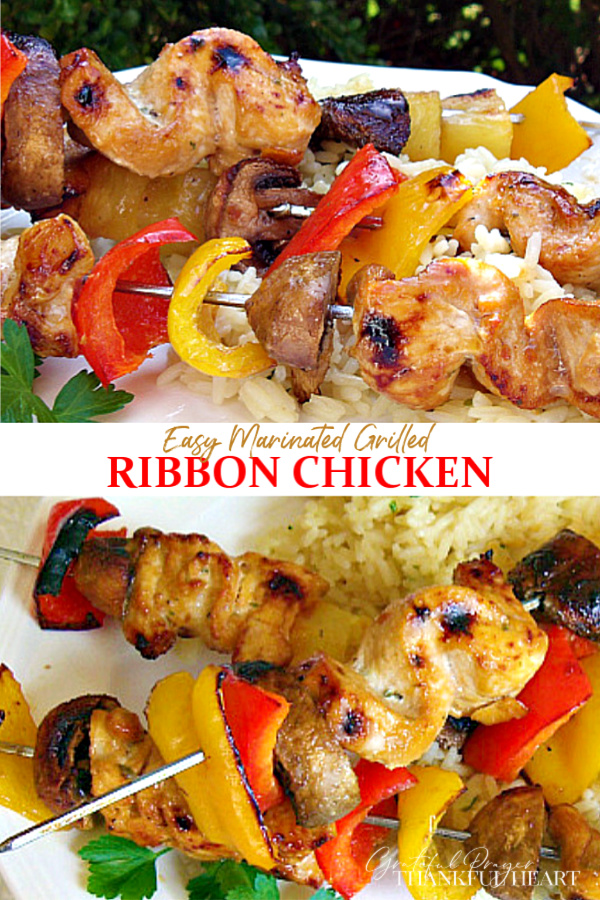 Just a few ingredients to make the tastiness, juicy chicken kabobs. Recipe for an easy marinade. Grill or cook using the broiler. A great summertime/anytime dinner entree!