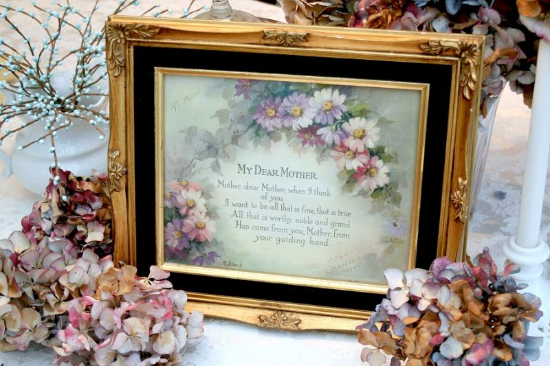 Vintage and Framed, My Dear Mother Print and Poem by M Black with muted shades of daisy-like flowers circa 1945.