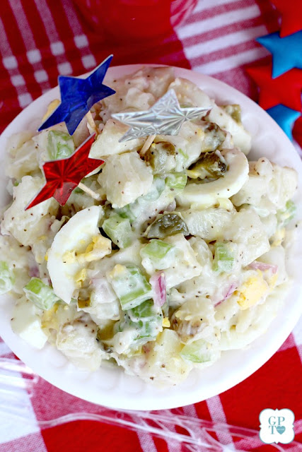 This recipe for old-fashioned potato salad is far from boring. Lots of flavor from sweet gherkin pickles, celery, onions & eggs. A classic barbecue favorite!