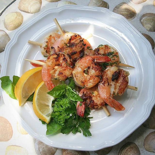 Great recipe for Grilled Herb Shrimp that are super easy to make. Marinated in a simple herb mixture then grilled to perfection in just a few minutes using an outdoor grill or indoors on a George Foreman Grill.