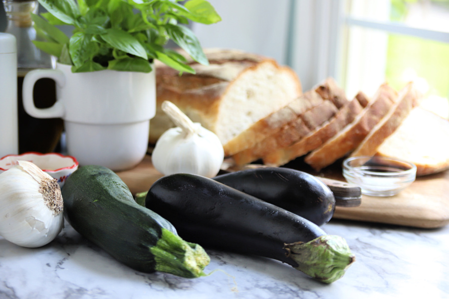 Fresh ingredients for grilled vegetable panini sandwich