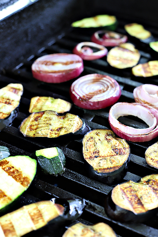 grilling zucchini, eggplant onions for grilled vegetable panini sandwich