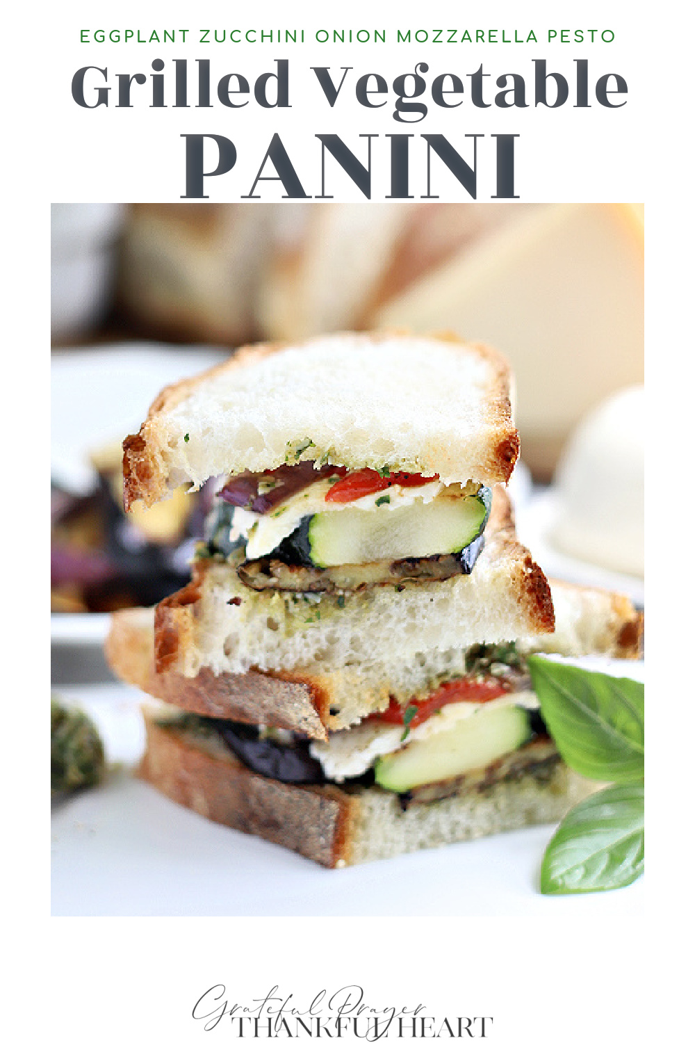 Grilled vegetable panini with eggplant, zucchini & onions, fresh basil pesto, mozzarella & roasted peppers is a tasty, low calorie sandwich.