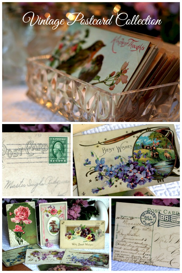 a collection of vintage postcards from the early 1900's with lovely flower, bird and holiday designs and sweet messages in a beautiful script.