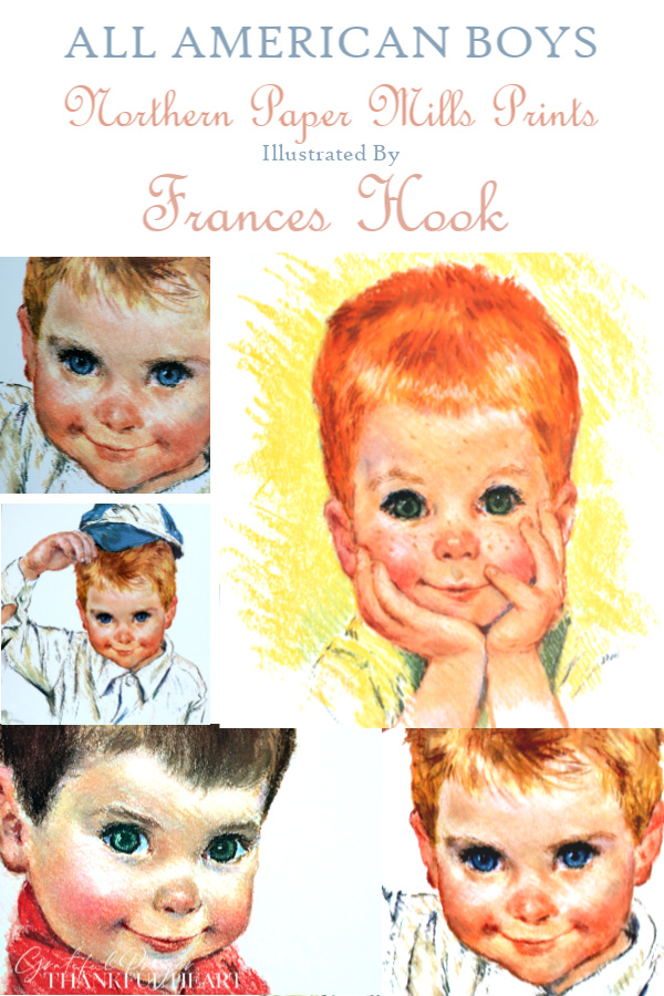 All American Boys, is a series of children prints illustrated in soft pastels by Frances Hook. They promotional prints from Northern Paper Mills, later Northern Tissue.