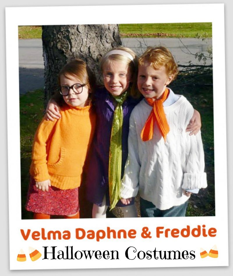 Adorable Scooby Doo characters, Velma, Daphne and Freddie, easy to pull together Halloween costumes using thrift store finds.