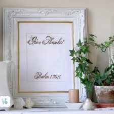 Beautiful Psalm Give Thanks! Framed Embroidery