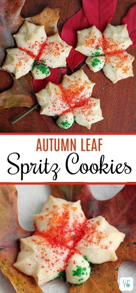 Colorful, buttery and tender Spritz cookies made easy with a cookie press. Leaf shape lovely for autumn and Thanksgiving dessert table.