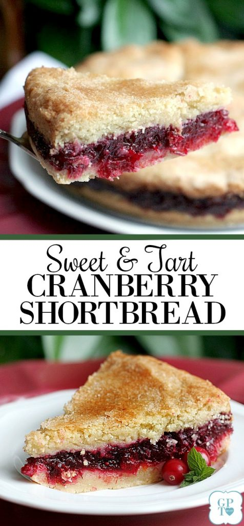Try something new for Thanksgiving. Cranberry shortbread dessert has a sweet and tart filling between two layers of shortbread cake. A lovely addition to the dessert table.