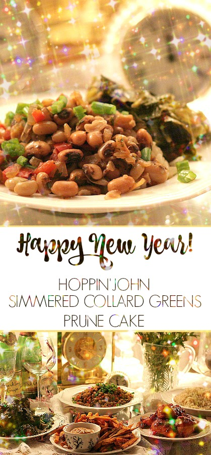 This New Year's eve, we tried a new-to-us dinner menu of traditional southern foods including Hoppin' John, simmered collard greens and prune cake from a segment of Kathie Lee's Early Show program.