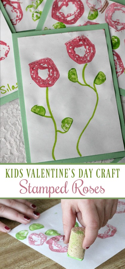 Stamped Valentine's to make with Kids is a fun and easy project. Rolled cardboard is used to create a rose pattern to stamp a lovely design to give as cards for Mom.