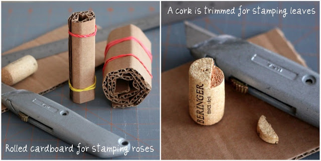 Stamped Valentine's to make with Kids is a fun and easy project. Rolled cardboard is used to create a rose pattern to stamp a lovely design to give to Mom.