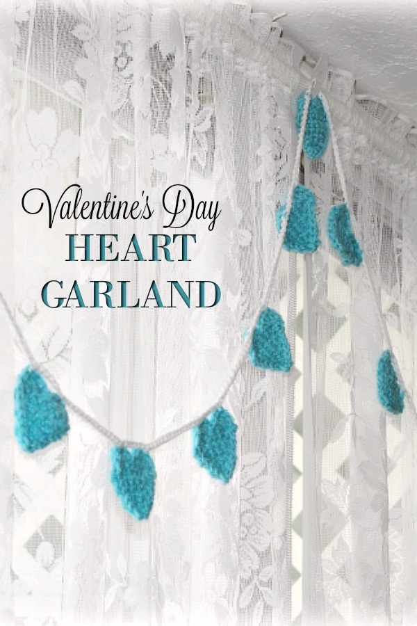 Create a sweet Valentine's Day Heart Garland with an easy crochet pattern to decorate your home. Make in any color. Lovely to decorate a baby nursery too!