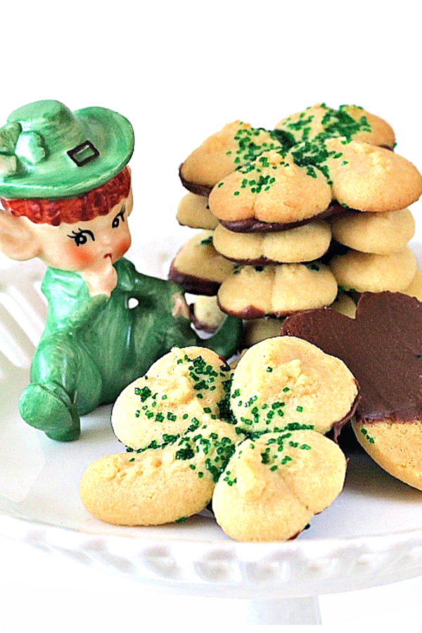 Yummy little butter cookies in the shape of Shamrocks with green sugar and a chocolate coating on the back just might make the little Leprechauns in your house happy.