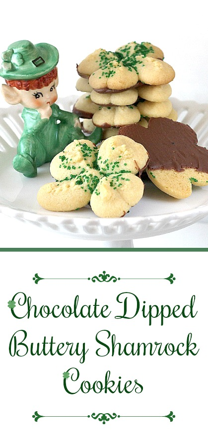 Chocolate dipped buttery spritz shamrock cookies St Patrick's
