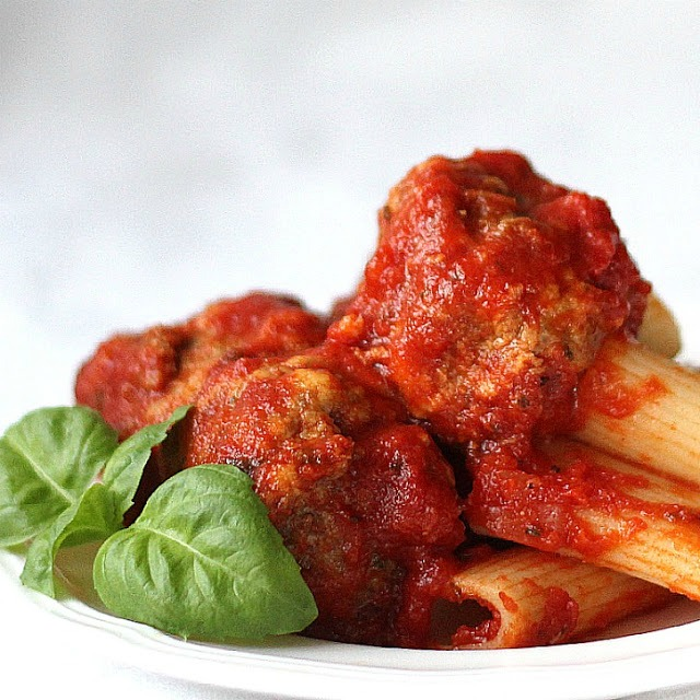 Super easy meatball recipe. Browned in a skillet or baked on the oven, they are soft, tender and delicious served with pasta or as a meatball sandwich.