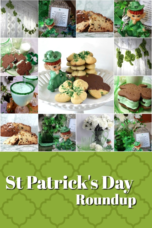 St. Patrick's Day Blog Crawl with recipes for Shamrock cookies, milk shake, minty ice cream sandwiches, Irish soda bread and cute crochet shamrock garland.